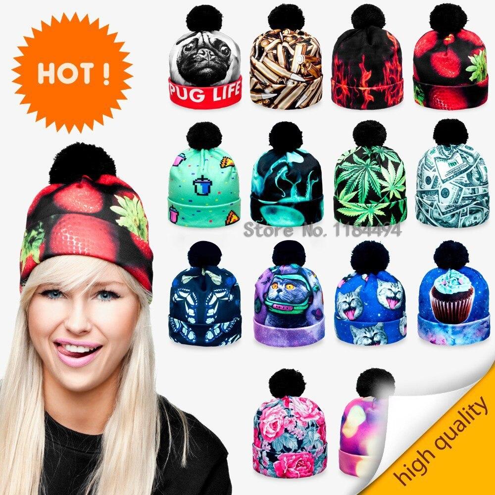 Beanie Pompon 2015 Top Fashion Print Winter Knitted Hat Unisex Different  fullprint digital space panda weed fire women men 437114b1740