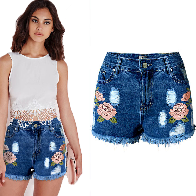 2016 New Embroidery Jeans Short with High Waist Summer Washed Ripped Denim Shorts