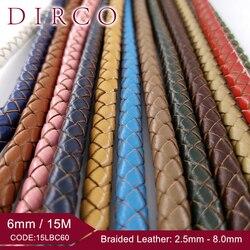 Оплетка из натуральной воловьей кожи, 6 мм, 15 м/рулон, круглая оплетка для браслета, ожерелий, ювелирных изделий