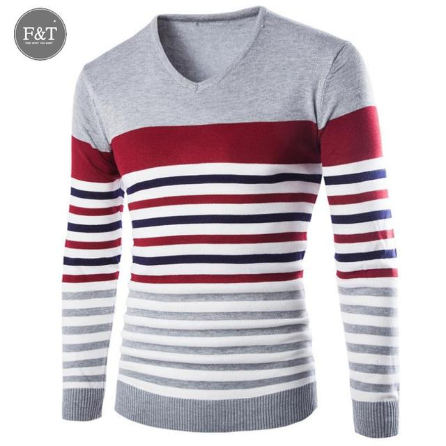 [Asian Size] Autumn Fashion Brand Casual Sweater Jumpers Design Slim Fit Casual V-Neck Patchwork Striped Male Pullovers Sweater