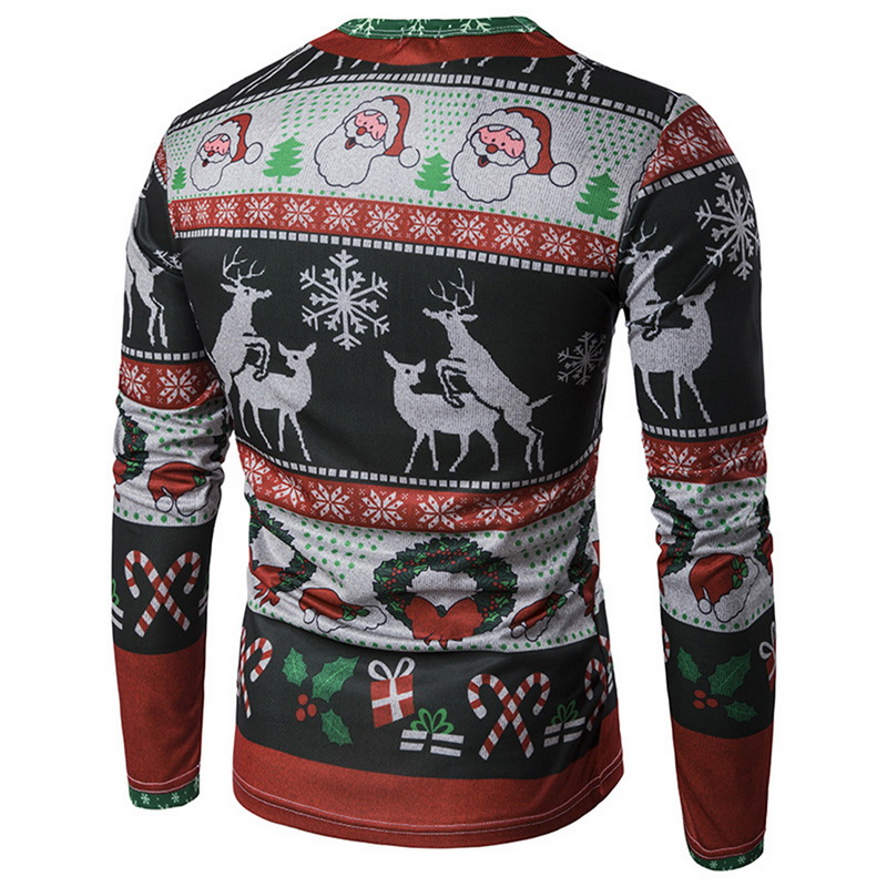 Oeak Men 3D Elk Printed Casual Pullover Hoodie Christmas Sweatshirt Long-sleeved Shirt Fashion O-Neck sudaderas hombre 1