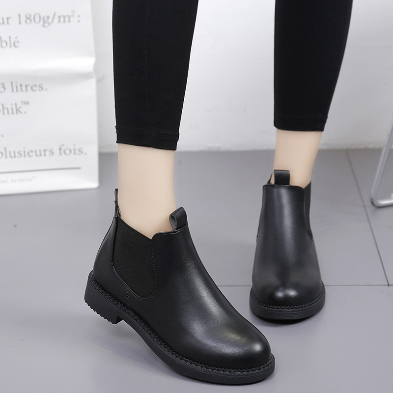 KHJGS 2017 Genuine Leather Chelsea Boots Women Fashion Pointed Toe Elastic Band Ankle Calf Leather Shoes with Box blue leather look skater skirt with elastic band