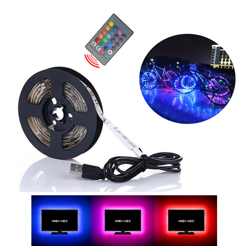 New Led Strip Light RGB USB 5M No-Waterproof Computer Strips SMD5050 5V TV Backlight Led Tape Bicycle Lighting Accessories