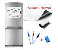 500x600 мм Магнитная белая доска, магниты на холодильник, маркер для дома, кухни, стикеры для письма, доски, магниты, 1 ластик, 3 ручки