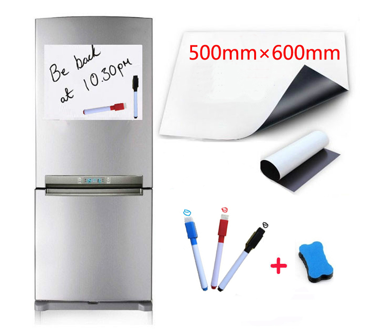 500x600mm Magnetic Whiteboard Fridge Magnets Marker Home Kitchen Message Writing Sticker Boards Magnets 1 Eraser 3 Pen