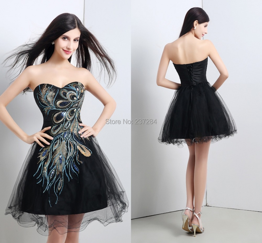 Aliexpress.com : Buy Black Embroidery Peacock Short Prom Dresses ...