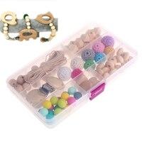 DIY Baby Nursing Teether Jewelry Crochet Beads Wooden Rings Round Geometry