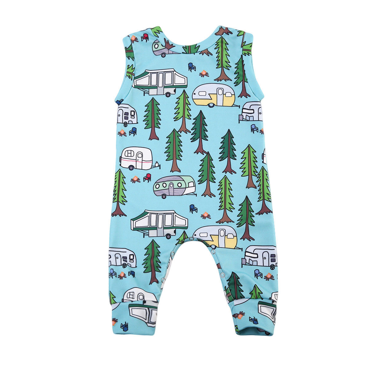 Newborn Baby Boys Girls Cartoon   Romper   Infant Child Sleeveless Car Print Cute Jumpsuit Kids 2019 Summer Outfits