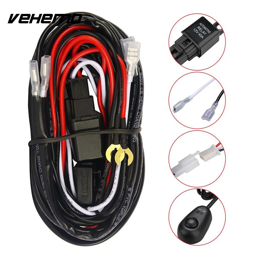Hot Sale Vehemo 12v 40a Wiring Harness Kit Fuse Relay Headlight Universal Line Set Switch Professional Car Tuning