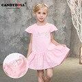 2017 новый candydoll весной ребенок девушки платье принцессы печати стерео лепестки рукав розовый детские платья