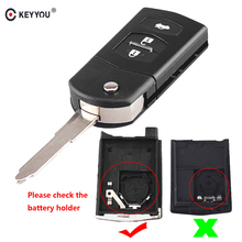 KEYYOU For Mazda 3 5 6 Folding Flip Remote Car Key Replacement Black FOB Shell Case Fob 3 buttons key Replacement