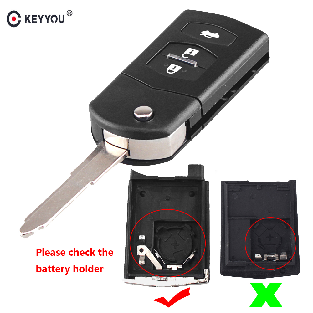 KEYYOU For Mazda 3 5 6 Folding Flip Remote Car Key Replacement Black FOB Shell Case Fob 3 buttons key Replacement image