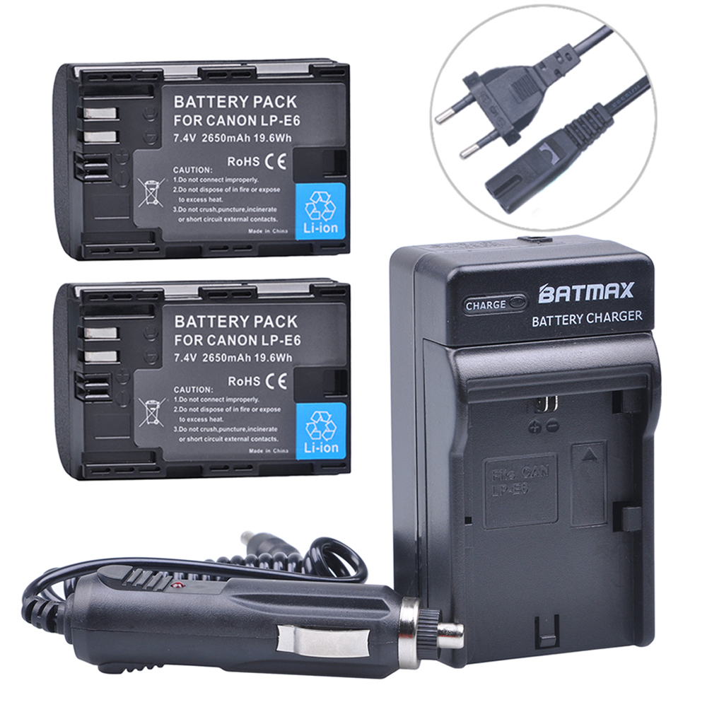 2x 2650MaH LP-E6 LPE6 LP E6 Camera Battery Bateria + Charger Kits for Canon DSLR EOS 5D Mark II Mark III 60D 60Da 7D 70D 6D