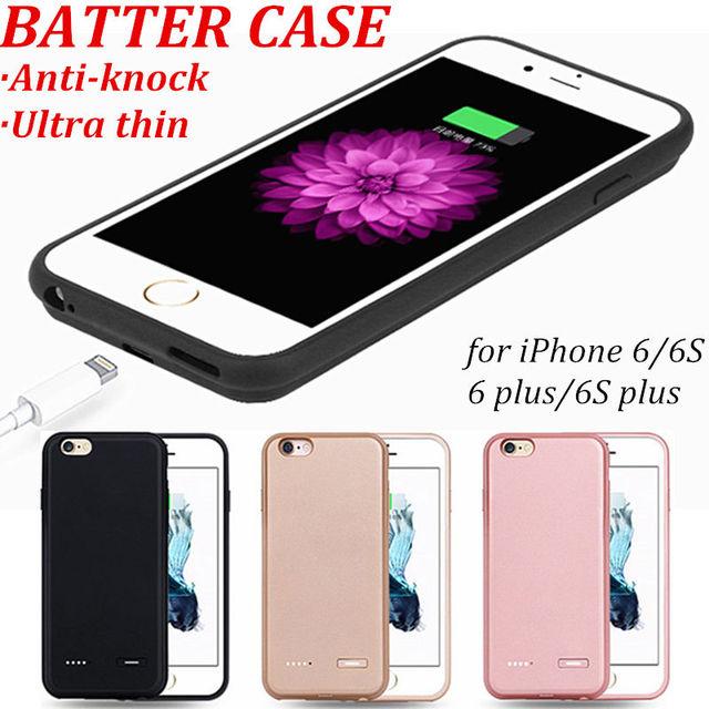 Nuevo caso ultra delgado de la energía bank para apple iphone 6 6 siphone 6 Más 6 s Más 4.7 5.5 Cargador de Batería de Reserva Externa cubierta