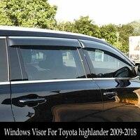 도요타 하이랜더 용 윈도우 바이저 2009-2018 sun rain protection shield cover 자동차 스타일링 awnings shelters 4 pcs