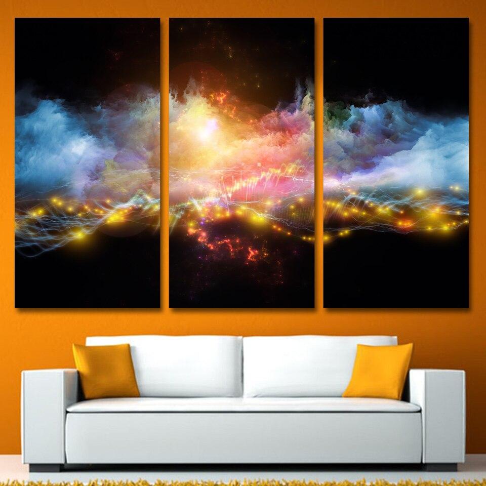 Бросился Продвижение 3 панели холст Книги по искусству своих облаков Smok огни Home Decor Unframed настенная живопись печатает фотографии для Гостина...