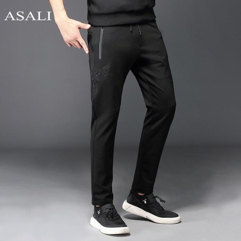 ASALI marque hommes pantalon avec aile broderie Slim Fit Long pantalon Sportswear grande taille survêtement pantalon décontracté droit homme-in Pantalon sarouel from Vêtements homme on AliExpress - 11.11_Double 11_Singles' Day 1