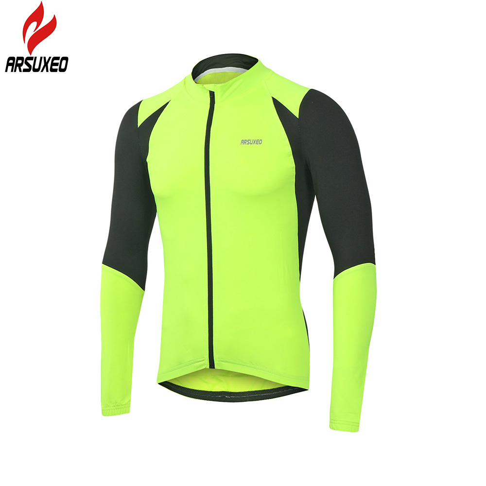 84e64122db566 ARSUXEO Men s Cycling Jersey Long Sleeve MTB Jersey with Full Zipper  Downhill Road Mountain Bike Clothing Maillot Ciclismo-in Cycling Jerseys  from Sports ...