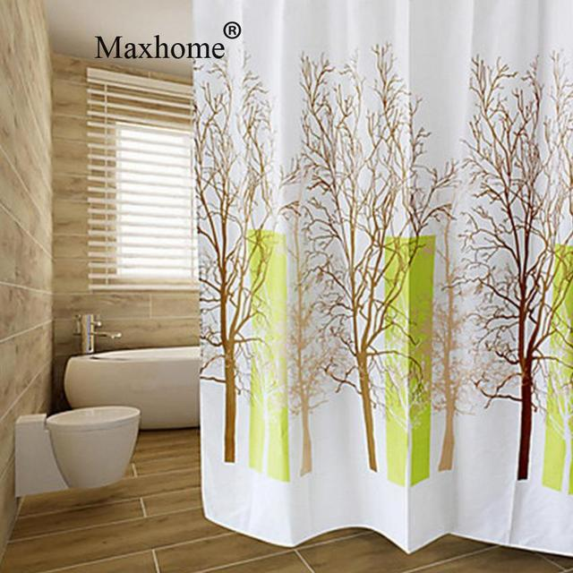 Happy Tree Bathroom Waterproof Polyester Shower Curtain With 12pcs ...