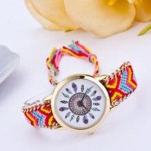 DIY Pena Multicolor Tecido Weaven Quartz Relógio de Pulso das Mulheres da Banda de Folk-Reloj Mujer Relógio Pulseira Artesanal das Mulheres Feitas Sob Encomenda