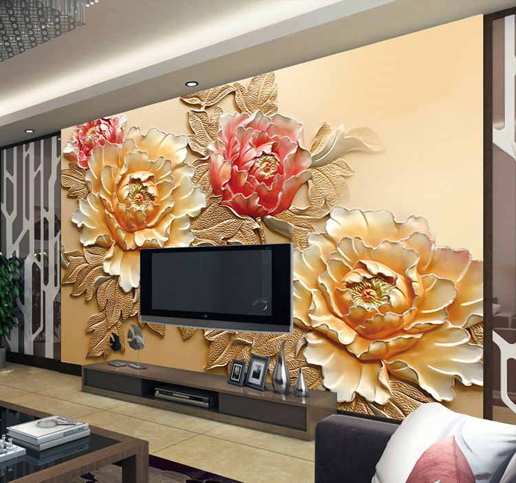 5d Chinese Style Peony Flower Papel Mural 3d Wallpaper for Sofa TV Background Living Room 3d Wall Photo Murals wall paper custom 3d wallpaper mural chinese style flower and bird wallpaper restaurant living room bedroom sofa tv wall papel de parede