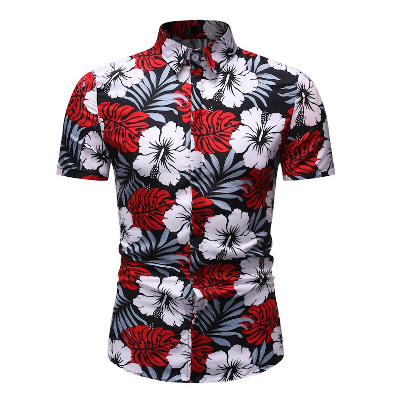 Men's Casual Floral Shirt Dress Short Sleeve Casual Blouse Men Slim Fit Flower Mens Shirts Fashion Summer New