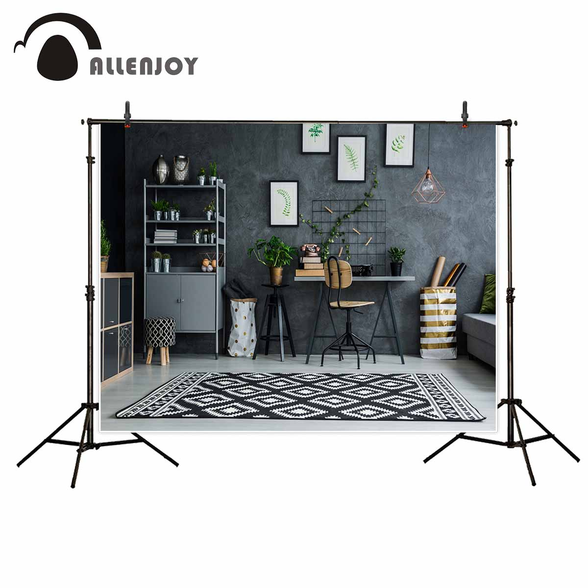 Allenjoy photography backdrops Indoor modern room carpet chair Gray wall plants photo backdrop fond studio photo oxygen bar chair gray