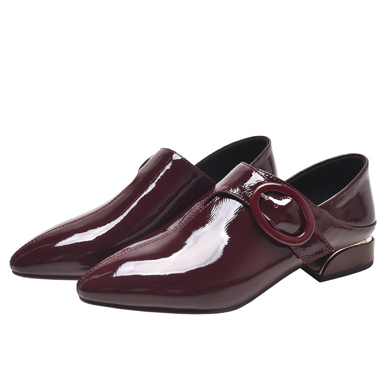 Pointed Toe Flat Shoes Women Patent Leather Flats Fashion Slip on Ladies Shoes Belt decoration Office