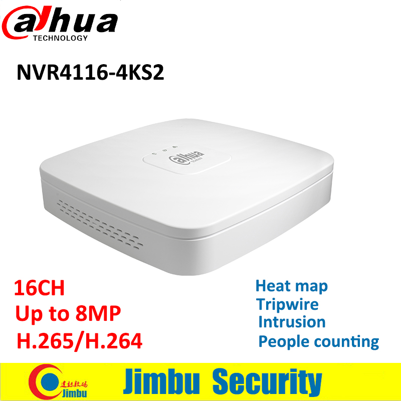 Dahua 16CH video recoder NVR4116-4KS2 people counting,heat map,intrusion Up to 8MP Resolution 4K&H.265 video recorder Smart 1U
