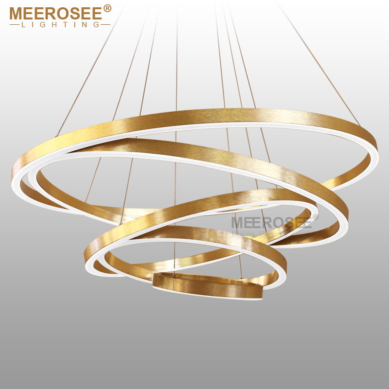 large rings led pendant lights gold hanging lamp for restaurant pendant lamp acrylic circle lampadario lustres