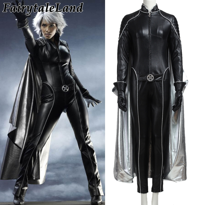 X men storm Ororo Munroe Cosplay costume Black leather jumpsuit costume custom made jumpsuit gloves cloak