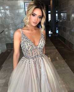Image 3 - Promworld Backless Grey Evening Dresses 2020 Sexy Prom Dresses with Slit Rhinestone Tulle See Through Long Evening Gowns