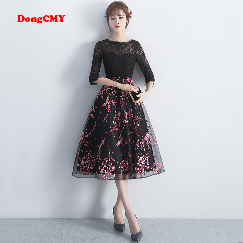 DongCMY New Arrival 2019 Short Black Color   Prom     dress   Elegant Party Women Evening   Dresses