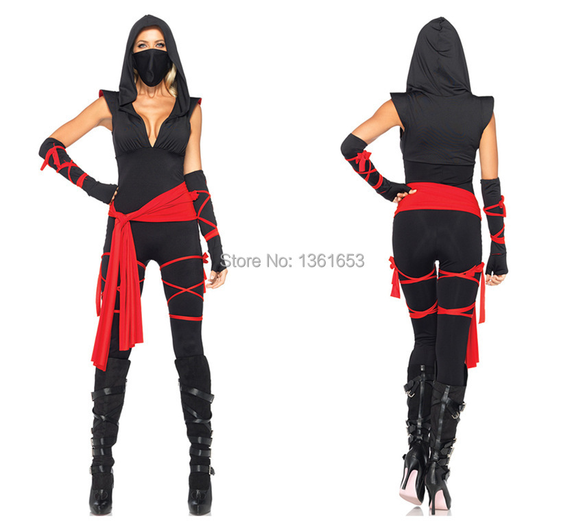 Japanese Ninja The masked warriors dress cosplay hollween party women dress costume Free shipping