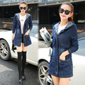 HRM 2017 Spring new Korean large size women's casual loose hooded long waist denim jacket coat