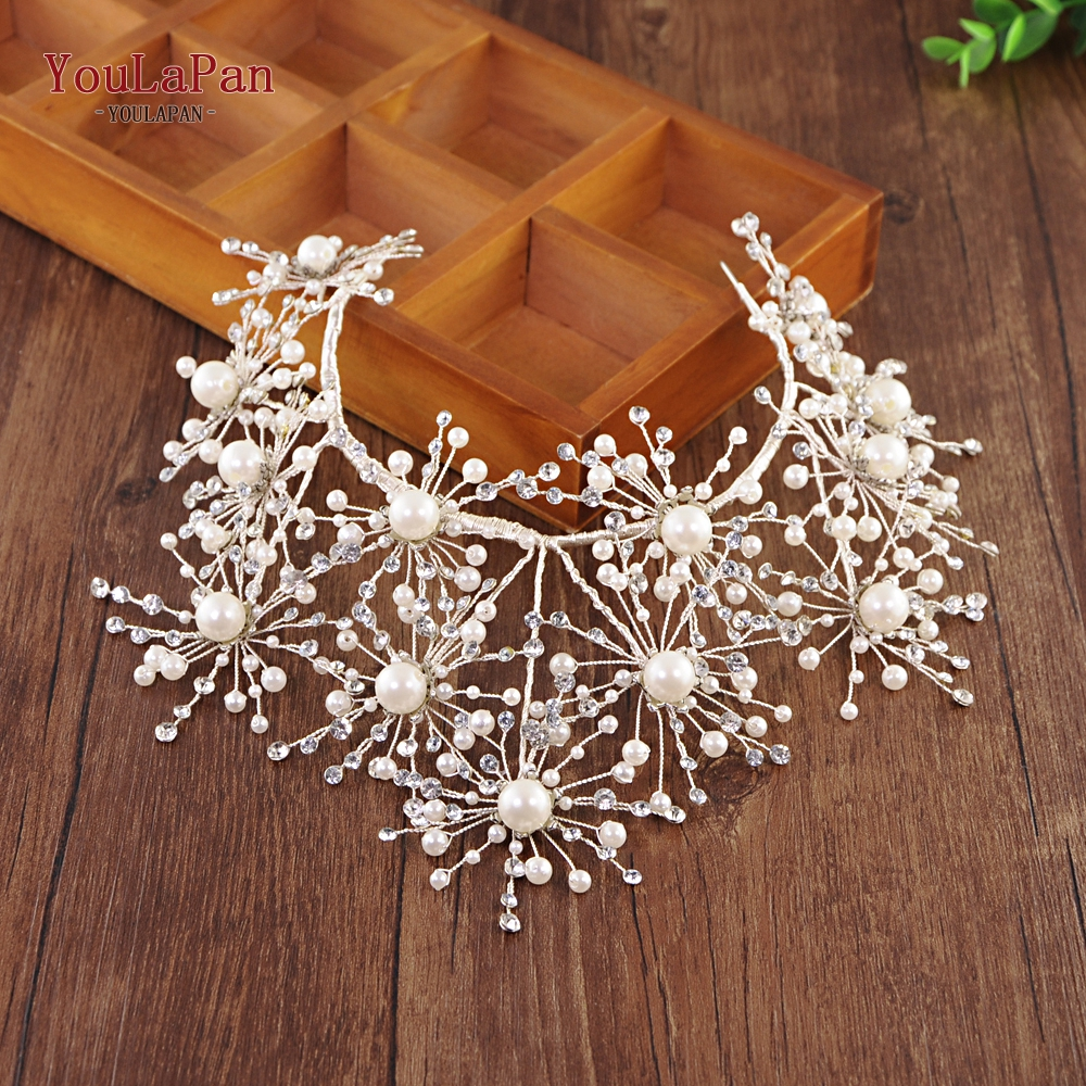YouLaPan HP244 sliver crystal bride tiara crown fashion rhinestone queen wedding crown headband bridal party hair jewelry in Hair Jewelry from Jewelry Accessories
