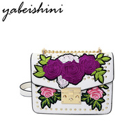 KMFFLY Embroidery Floral Chain Women Bag Luxury Brand Women Messenger Bags PU Leather Famous Designer Handbags