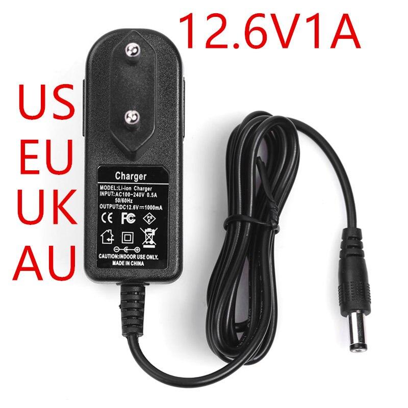 NEW 500PCS EU US UK AU plug100-240VAC 12.6V 1A Power adapter 12.6V1000mA adapter DC head is 5.5 * 2.1mm