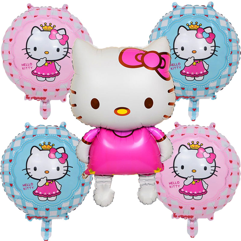 New 5psc/ Cute Kitty Aluminum Balloons Baby Birthday Party Decoration Inflatable Balloon Toy Self Seal