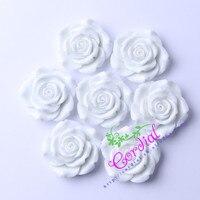 50ชิ้น/ล็อต42มิลลิเมตร(F1)สีขาวก้อนเรซิ่นดอกกุหลาบลูกปัดสำหรับ