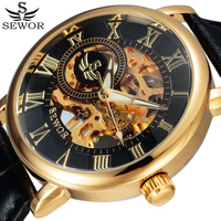 FORSINING Brand Men Wirstwatch Transparent Hollow Skeleton Mechanical Hand Wind Watches Leather Strap Clock Male Relogio