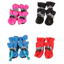4Pcs/set Pet Dogs Winter Shoes Rain Snow Waterproof Booties Socks Rubber Anti-slip Shoes For Small Dog Puppies Soft Footwear MDD reflective dog shoes socks winter dog boots footwear rain wear non slip anti skid pet shoes for medium large dogs pitbull