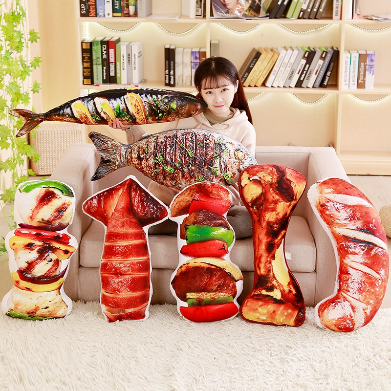 Cute Simulation Food Plush Pillow Huge Grilled Meat Pillow Plush Grilled fish Barbecu And Big Bone Stuffed Toy цена 2017