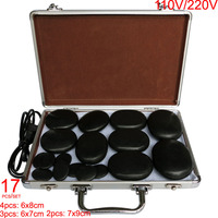 Hot spa rock natural basalt stone hot stone massage set massage lava with heater box for salon SPA 17pcs /set CE and ROHS
