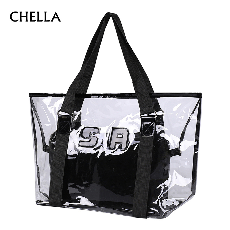Women Transparent Handbag PVC Jelly Candy Composite Bags Female Colorful Shoulder Bag Designer Tote Beach Bags Bolsa SS0331 free shipping butterfly shopping bag lovely pvc waterproof ted bag colorful jelly handbag women handbag with original logo