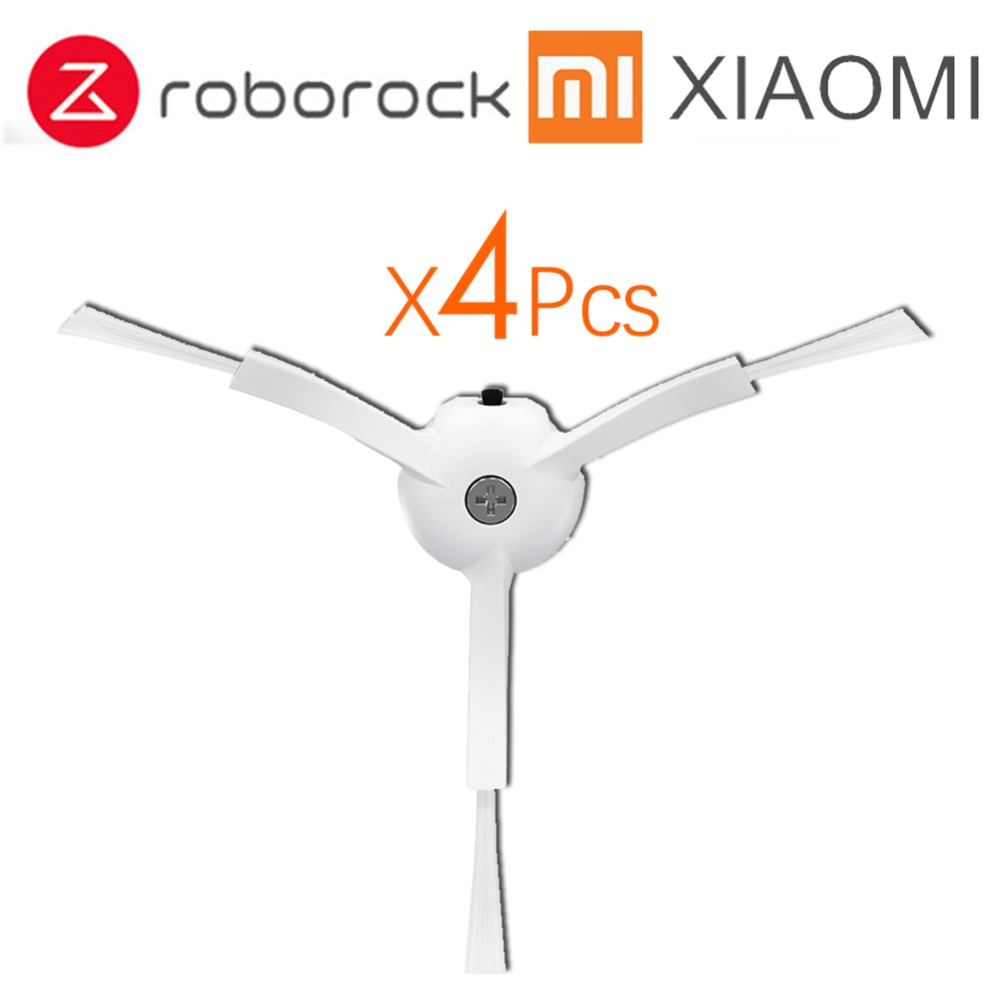 4Pcs/Lot Side brush for Xiaomi Roborock S50 S51 Vacuum Cleaner 1 & 2 Robot Vacuum Cleaner Spare Parts Kits not hepa filter vacum cleaner spare parts for mi robot caster assembly front caster wheel for xiaomi vacuum roborock s50 s51 cleaner