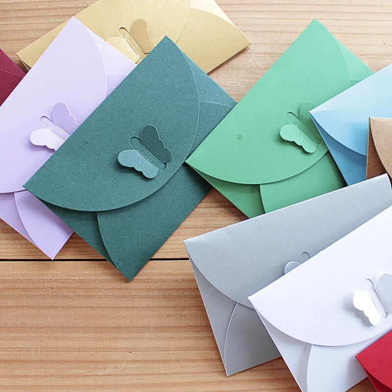 Colored Butterfly Buckle Kraft Paper Envelopes Simple Love Retro Buckle Decorative Envelope Small Paper Envelope Invitation Card