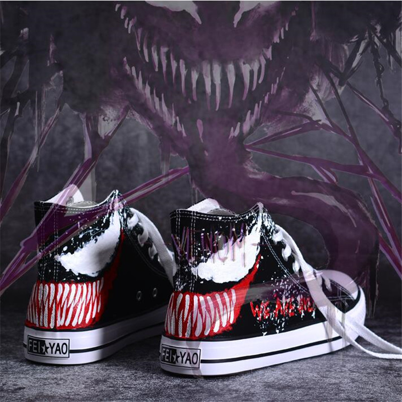 Hot New Movie The Avengers Spider-Man Venom Shoes Cosplay Costumes Plimsolls Dunk High Scrawl Hand Painted Canvas Shoes Fashion