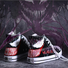 Hot New Movie The Avengers Spider-Man Venom Shoes Cosplay Costumes Plimsolls Dunk High Scrawl Hand Painted Canvas Shoes Fashion все цены