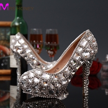 Lady Sexy High Heels Shoes Woman Stiletto Heel Handmade Party Rhinestone Pumps Platform Pumps Crystal Bridal Wedding Shoes
